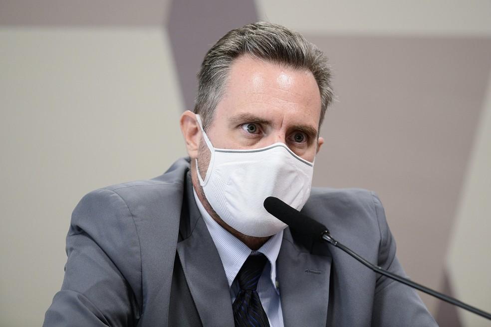 Luiz Dominguetti na CPI da Covid — Foto: Foto: Pedro França/Agência Senado
