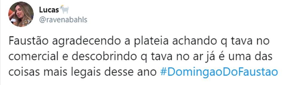Faustão agradece presença do público no 'Domingão' e encanta internautas — Foto: Globo