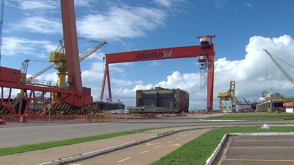 Estaleiro Atlântico Sul (EAS) fica em Ipojuca, no Grande Recife — Foto: Reprodução/TV Globo
