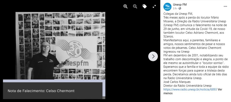 Celso Chermont, locutor da Rádio Unesp, morre aos 52 anos de Covid em Bauru — Foto: Reprdução/Facebook