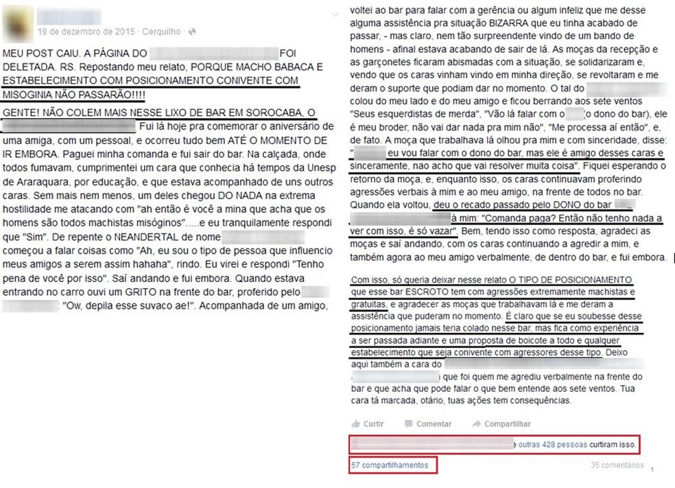 Justiça condena jovens a indenizar bar por agressões morais em rede social (Foto: Reprodução/Facebook)