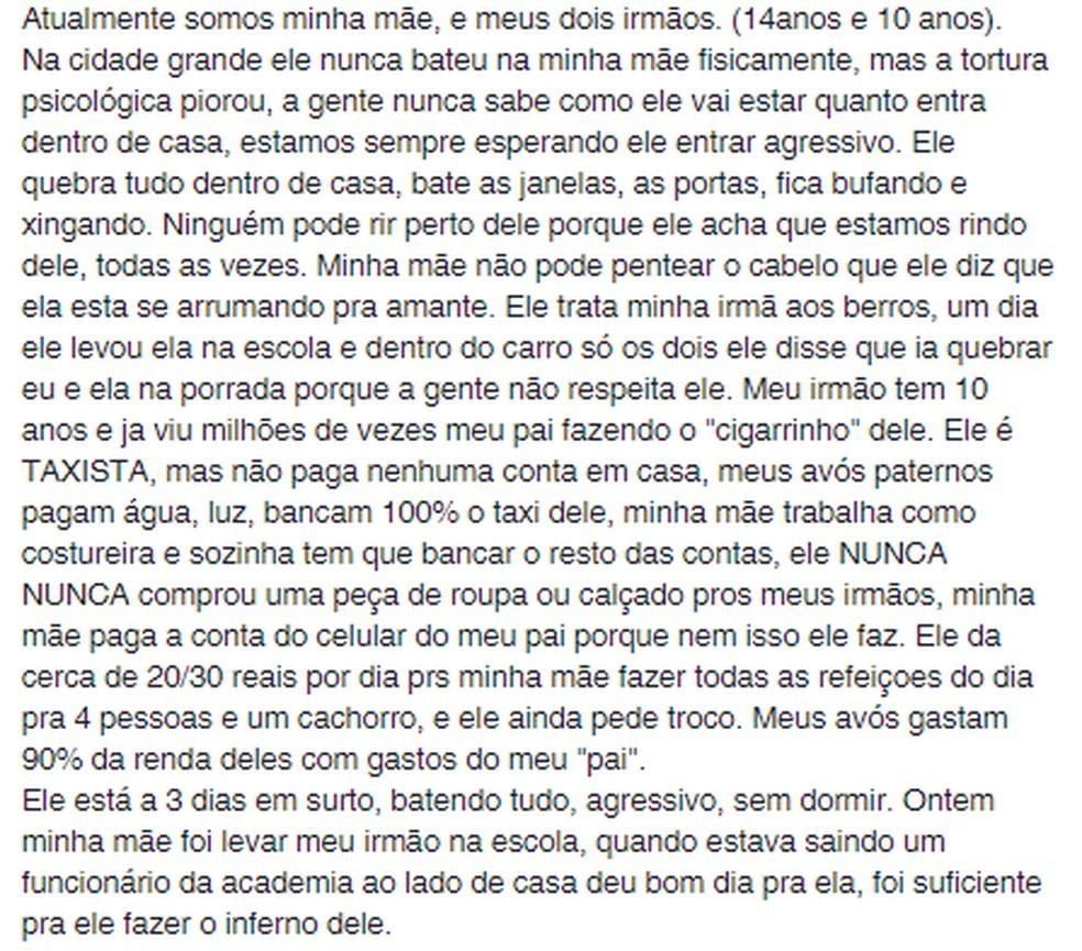 Jovem fez postagem relatando o que mãe vem sofrendo nos últimos anos e pedindo ajuda em Santos, SP — Foto: Reprodução