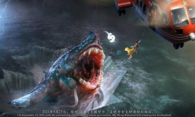 O resgate de Meng Wanzhou na dramática ilustração do artista chinês Wuheqilin