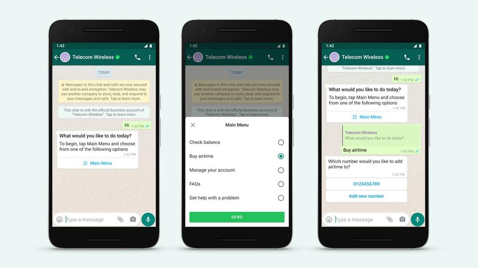 WhatsApp permite perguntas de múltipla escolha em conversas entre clientes e empresas — Foto: Divulgação/WhatsApp