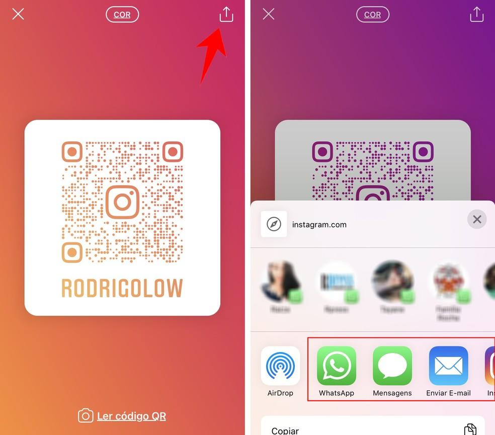 Instagram permite compartilhar o QR Code pelas redes sociais — Foto: Reprodução/Rodrigo Fernandes