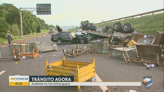 Acidentes com caminhões deixam 2 mortos e 1 ferido na Rodovia Anhanguera na região de Ribeirão Preto