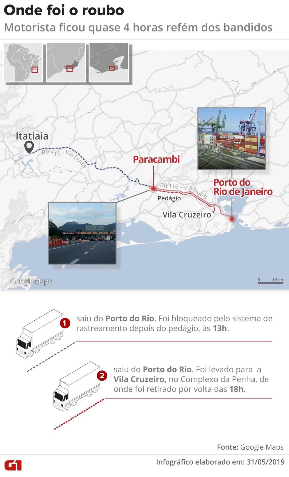 Mapa mostra onde foi o roubo das carretas — Foto: Infografia: Wagner Magalhães/G1