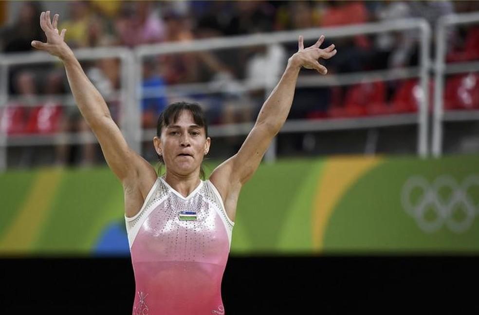 No Rio de Janeiro, Oksana Chusovitina voltou a defender o Uzbequistão em uma Olimpíada (Foto: Reuters)