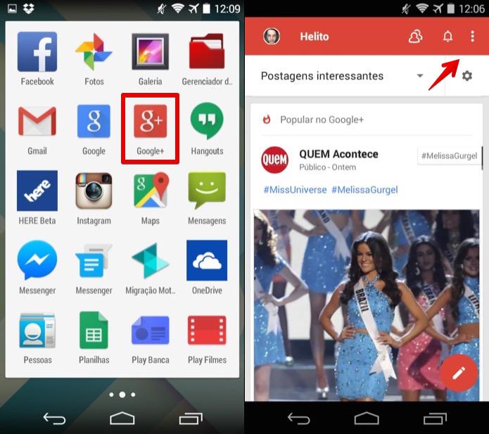 Abra o Google+ e acesse o menu do aplicativo (Foto: Reprodução/Helito Bijora)