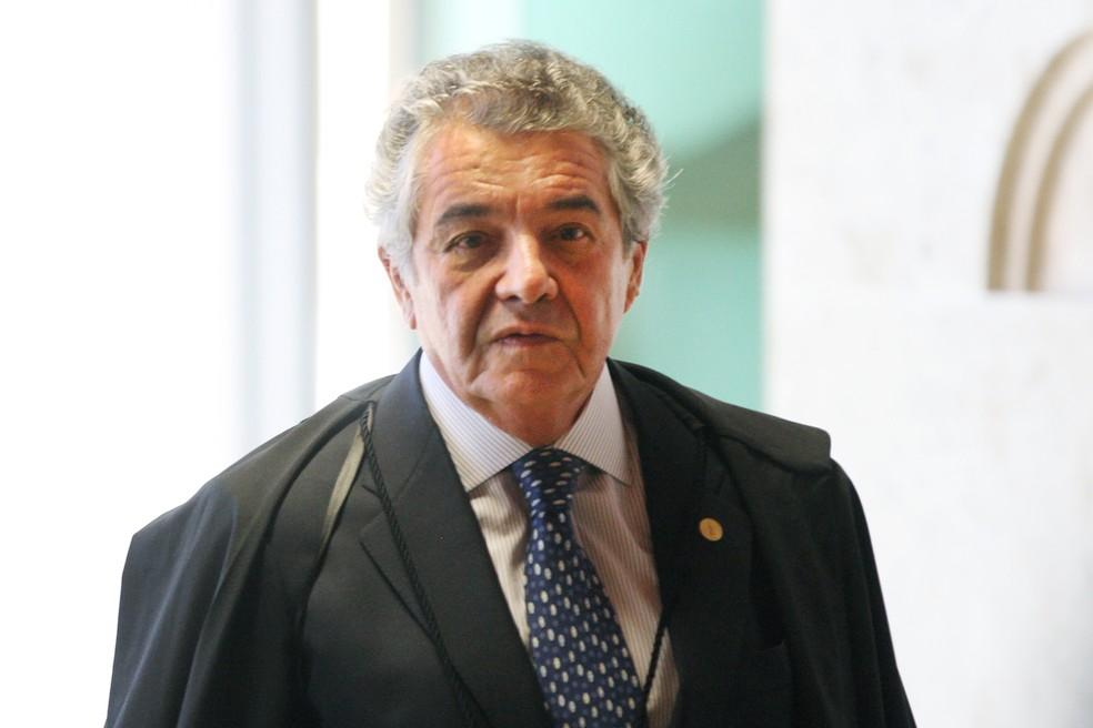 O ministro Marco Aurélio Mello durante sessão do Supremo Tribunal Federal (STF) no mês passado — Foto: Nelson Jr./SCO/STF