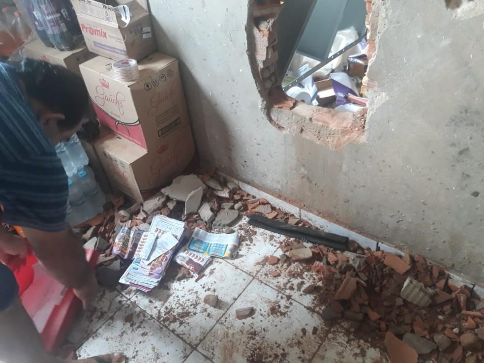 Casa lotérica de Santa Luzia do Tide (MA) é arrombada durante a madrugada desta sexta-feira (3).  — Foto: Divulgação/Polícia Militar