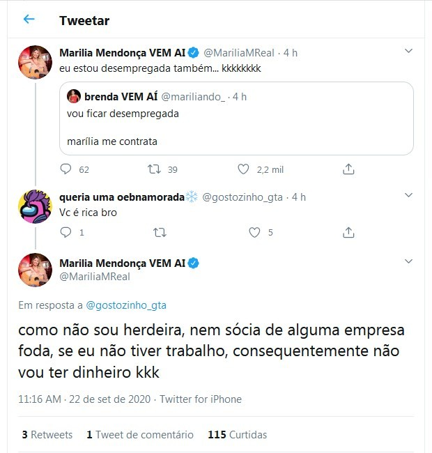 Tweets de Marilia Mendonça (Foto: Reprodução/Twitter)