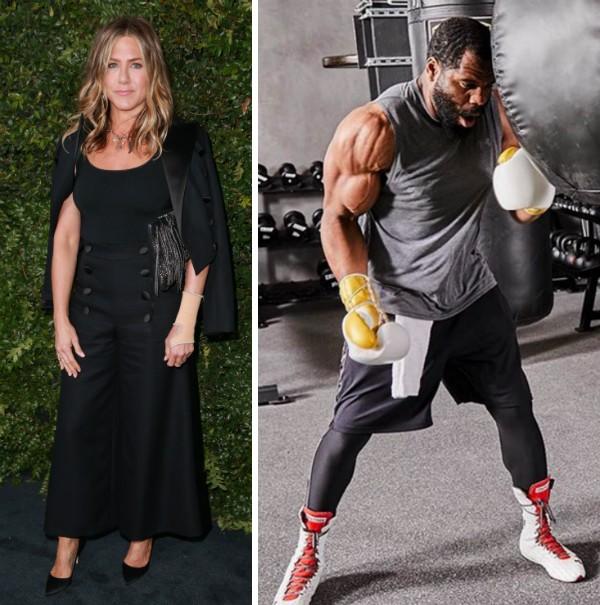 A atriz Jennifer Aniston e seu personal trainer (Foto: Instagram)