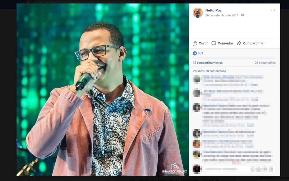 Netto Paz já foi cantor da banda Shalom e seguia carreira solo (Foto: Reprodução/ Facebook)