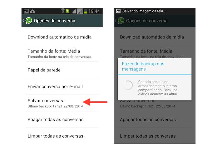 Realizando backup de conversas no WhatsApp para Android (Foto: Reprodução/Marvin Costa)