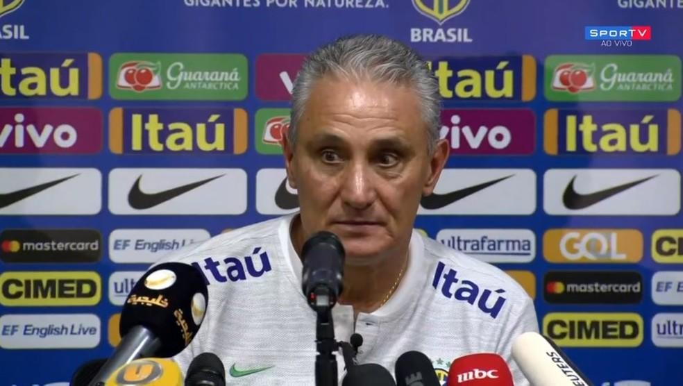 Tite fez elogios a Gabriel Jesus em entrevista antes do jogo — Foto: Reprodução