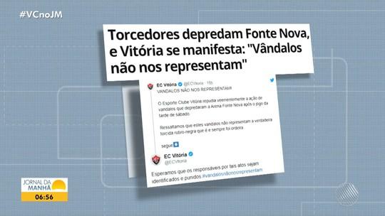 Vitória perde para o Guarani na Arena Fonte Nova e torcedores danificam itens da arena