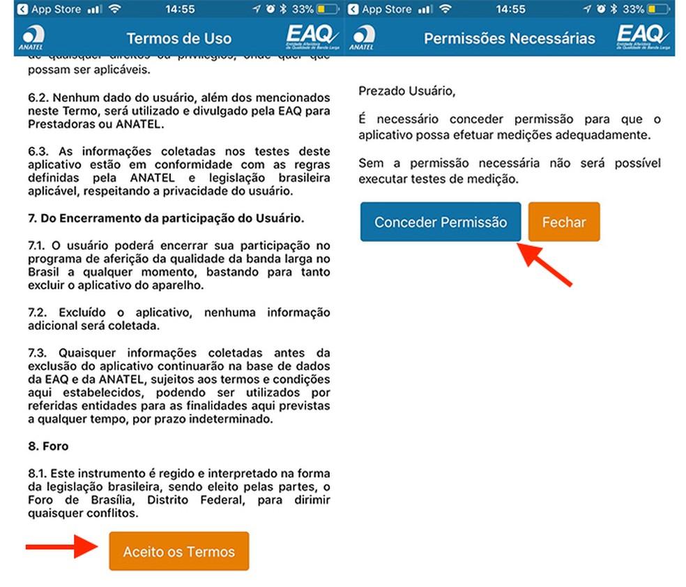 Ação para aceitar os termos de uso do aplicativo Brasil Banda Larga (Foto: Reprodução/Marvin Costa)