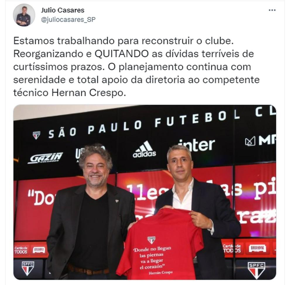 Postagem de Julio Casares em apoio a Crespo