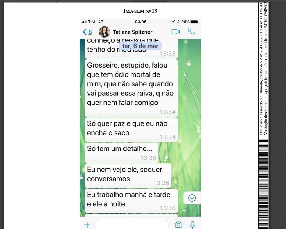 A defesa da família da advogada anexou nesta terça-feira conversas por WhatsApp de Tatiane com uma amiga (Foto: Reprodução)