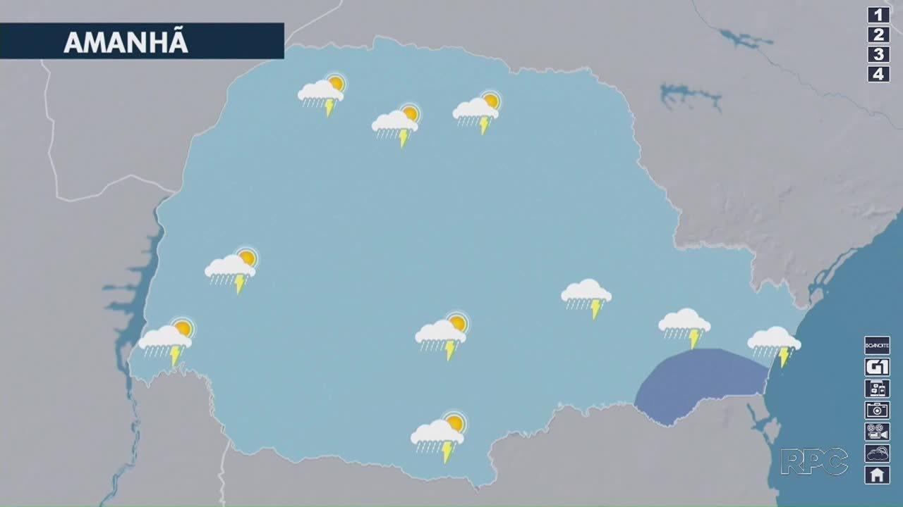 Pode chover a qualquer momento em todo o Paraná na quinta-feira (21)