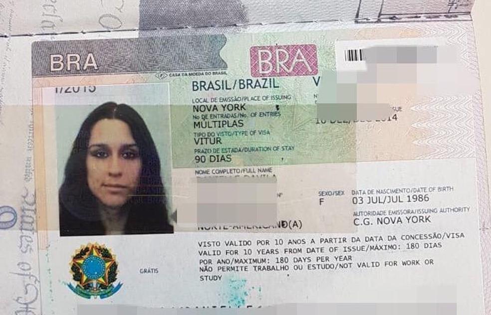 Visto da americana encontrada morta em pousada em Paraty — Foto: Divulgação/Polícia Civil