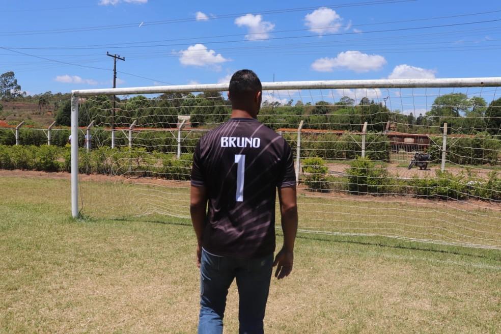 Goleiro Bruno Fernandes participa de amistoso neste sábado (5) — Foto: João Daniel Alves/EPTV