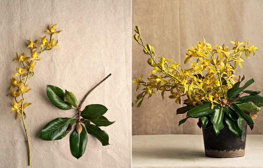 """Folhagens e orquídeas aguentam mais do que flores convencionais. Limpe o vaso antes de receber as espécies.""""Troque a água a cada dois dias e lave o recipiente com esponja e sabão"""", indica Luiza Ceridono, da Bothanica Paulista"""