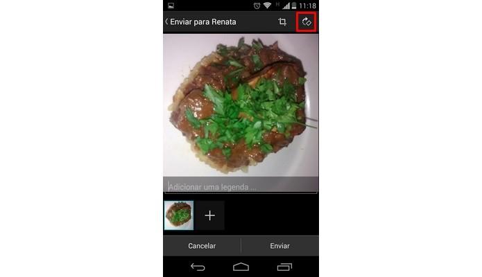 Destaque para botão de girar imagem no WhatsApp (Foto: Reprodução/ Raquel Freire)