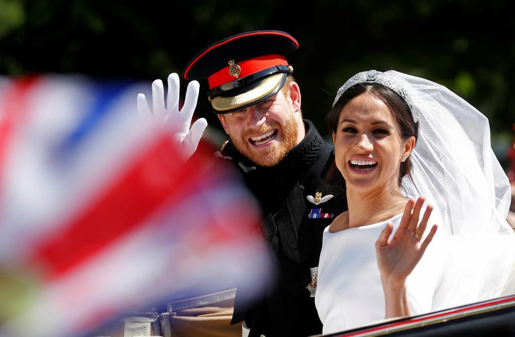 O príncipe harry e Meghan Markle no casamento real, na Capela de São Jorge, no castelo de Windsor, em maio de 2018 (Foto: Damir Sagolj/Reuters)