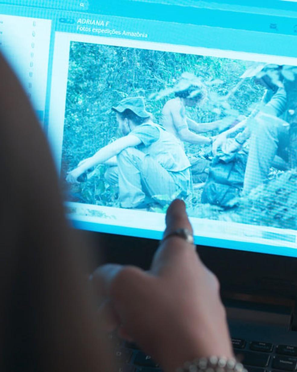 Keyla (Gabriela Medvedovski) reconhece Deco em foto em 'Malhação - Viva a Diferença' — Foto: Globo