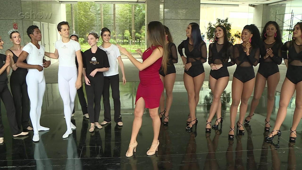 Bailarinas do Faustão participam de desafio de dança com bailarinas do Bolshoi