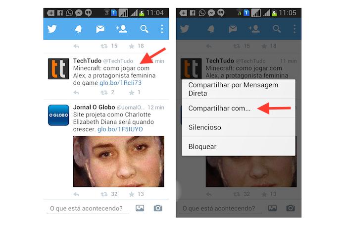 Acessando a ferramenta de compartilhamento de tuítes do Twitter para Android (Foto: Reprodução/Marvin Costa)