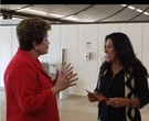 Regina Casé grava com a presidente Dilma Rouseff para o 'Esquenta!'/ Foto: Reprodução