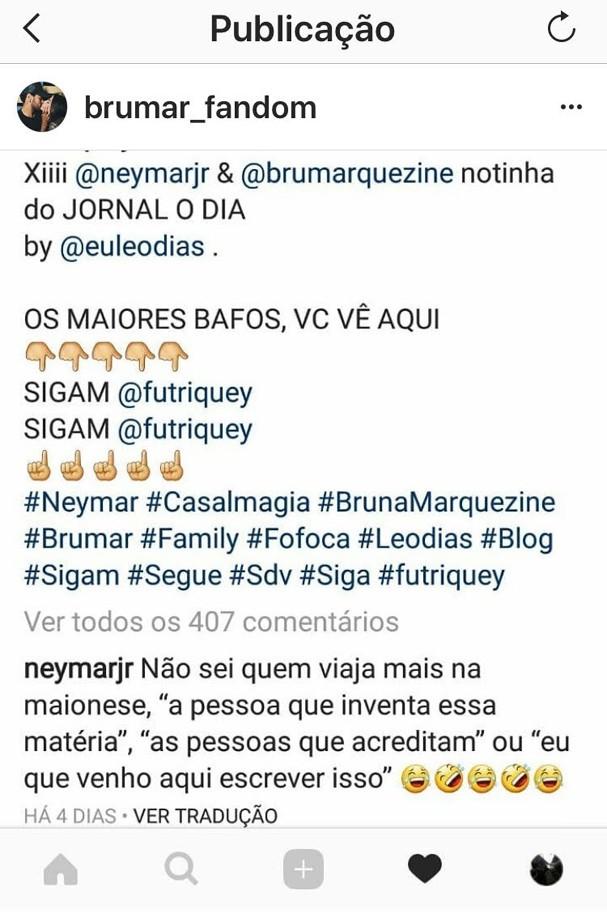 Comentário de Neymar  (Foto: Reprodução/Instagram)