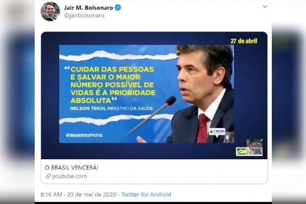 Post de Jair Bolsonaro