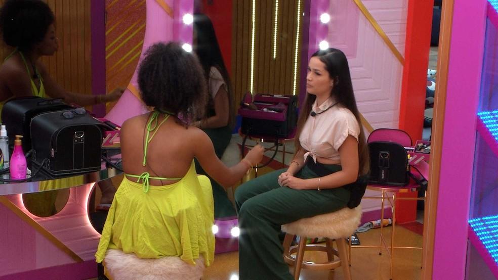 Juliette dispara para Lumena no BBB21: 'Quando você mandou eu calar a boca, eu poderia ter reagido' — Foto: Globo