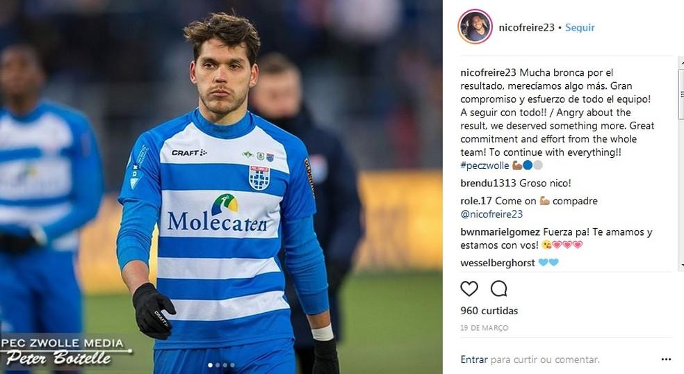 Nicolas Freire vai assinar com o Palmeiras por uma temporada (Foto: Reprodução/Instagram)