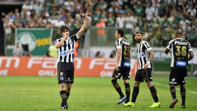 Dodô comemora gol do Santos contra o Palmeiras