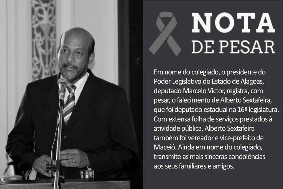 Nota de pesar da Assembleia Legislativa de Alagoas sobre a morte do ex-deputado Alberto Sextafeira — Foto: Divulgação/ALE
