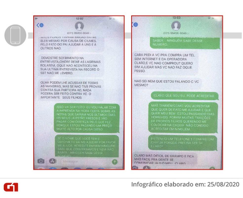 Troca de mensagens entre Flordelis e suposto policial civil. Polícia descobriu que a conversa foi forjada — Foto: Reprodução