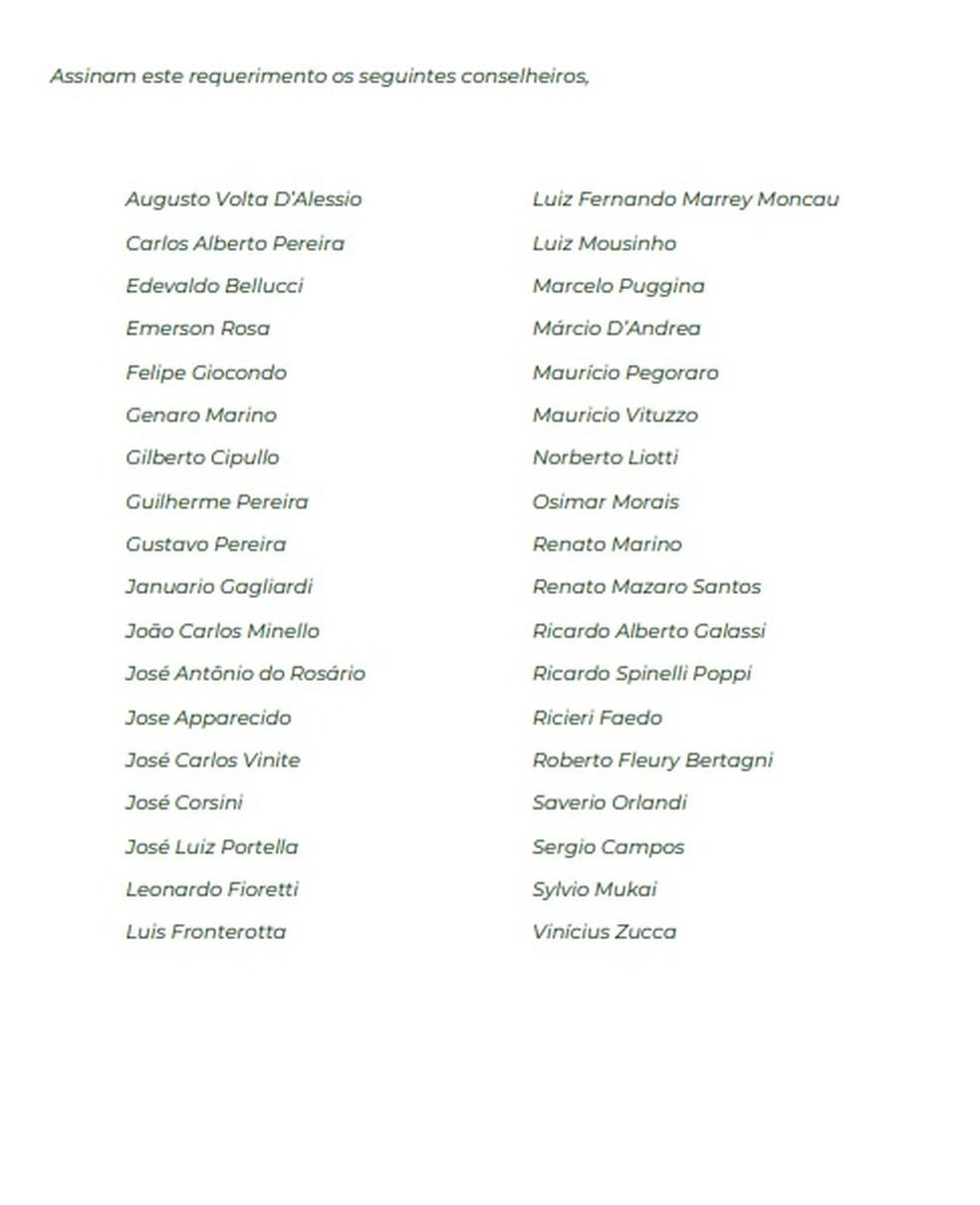 Carta de conselheiros da oposição do Palmeiras — Foto: Reprodução