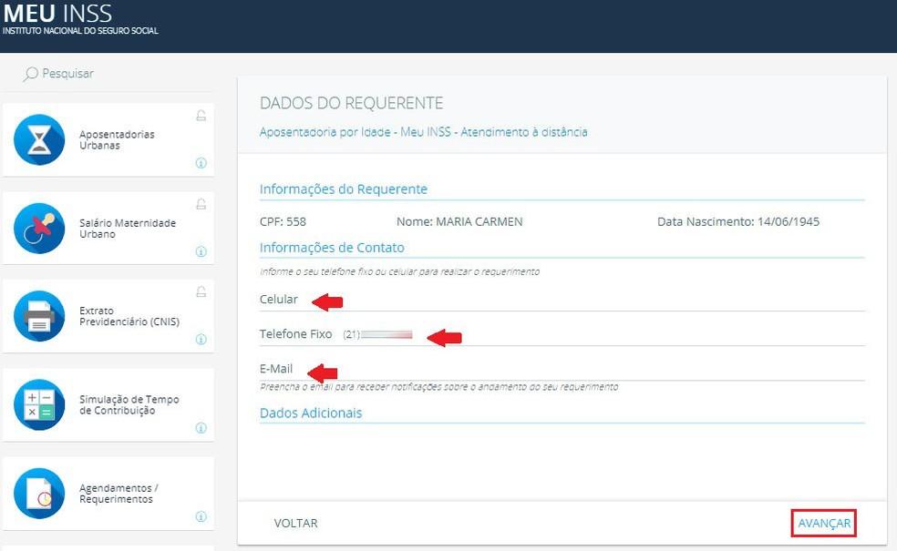 Informe seus dados pessoais para prosseguir com o pedido de aposentadoria pelo Meu INSS (Foto: Reprodução/Meu INSS)
