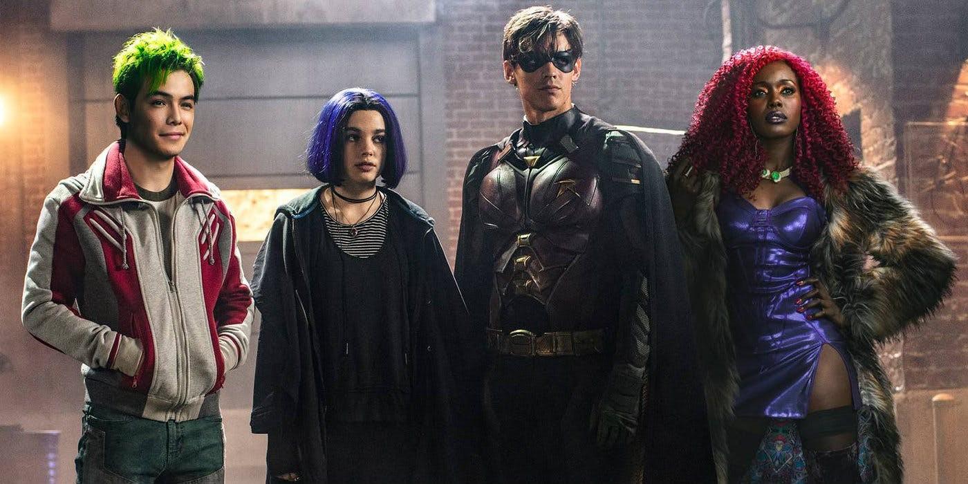 Anna Diop, Ryan Potter, Brenton Thwaites, e Teagan Croft em Titans (2018) (Foto: Divulgação)