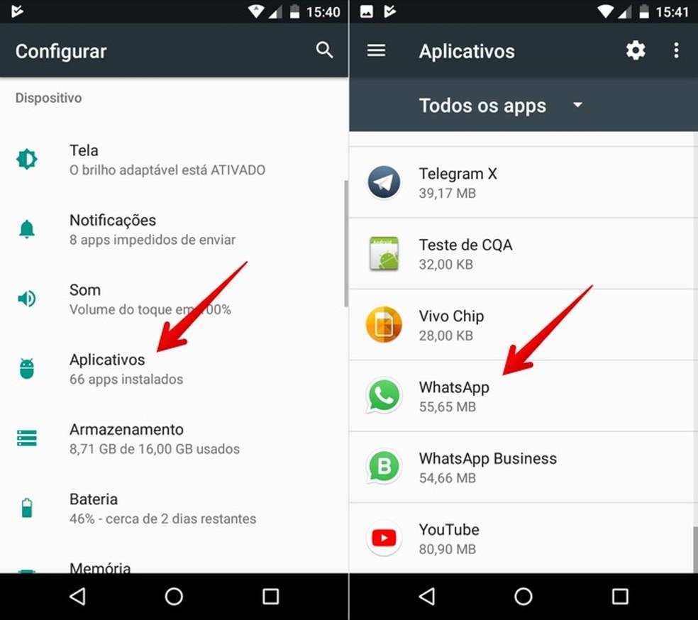 Abra as configurações do WhatsApp — Foto: Reprodução/Helito Beggiora