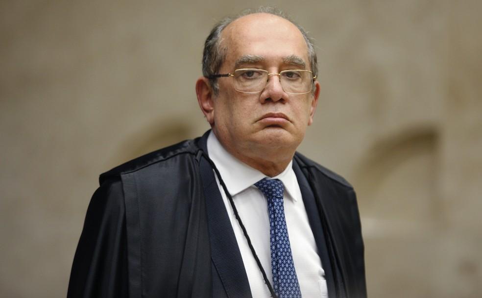 Gilmar Mendes durante sessão no STF para julgamento sobre conduções coercitivas — Foto: Rosinei Coutinho/SCO/STF