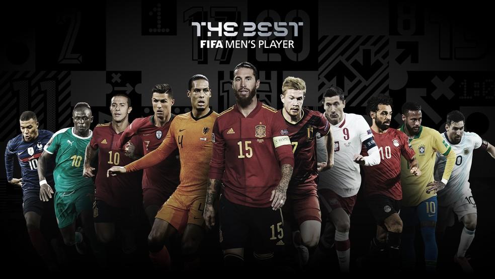 Arte com os finalistas ao prêmio Fifa The Best de 2020 com Neymar — Foto: Reprodução