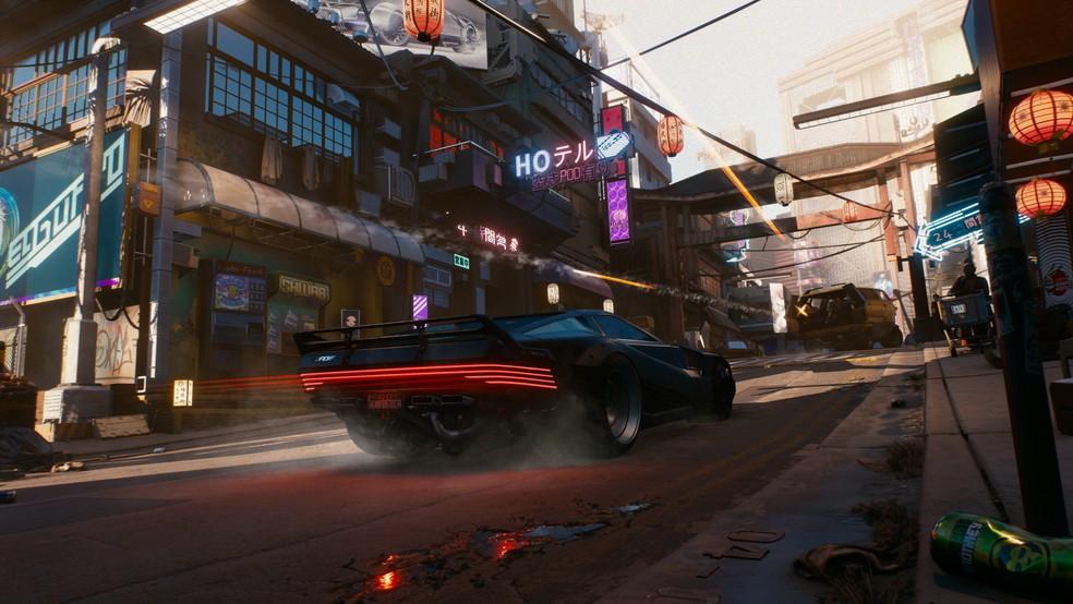 Em Cyberpunk 2077, você também pode explorar a cidade de carro (Foto: Divulgação/CD Projekt Red)