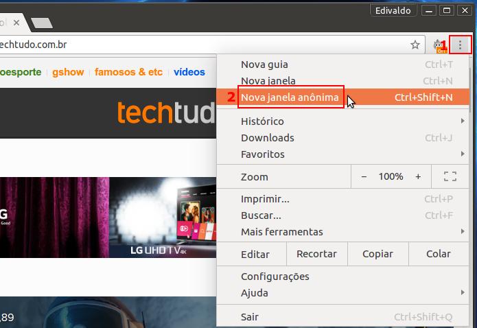 Acessando a navegação privada no Google Chrome (Foto: Reprodução/Edivaldo Brito)