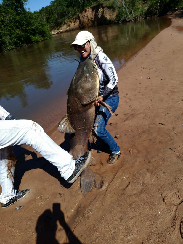 Dentista pesca peixe de 80 kg e 1,73 m em rio de Mato Grosso do Sul.  Foto: MS Todo Dia
